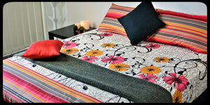 King Size & Queen Size Bed sheets. Quality Bed Sheets. Colorful Cotton Bed Sheets (Fitted Sheets) by Naqsh (Style: Gulaab / Rose)