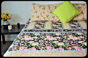 King Size & Queen Size Bed sheets. Quality Bed Sheets. Colorful Cotton Bed Sheets (Fitted Sheets) by Naqsh (Style: Leilani Flower)