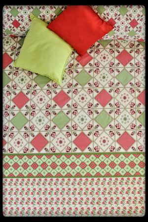 Cotton Fitted Sheet (Style: Phoolkaari / Embroidery)
