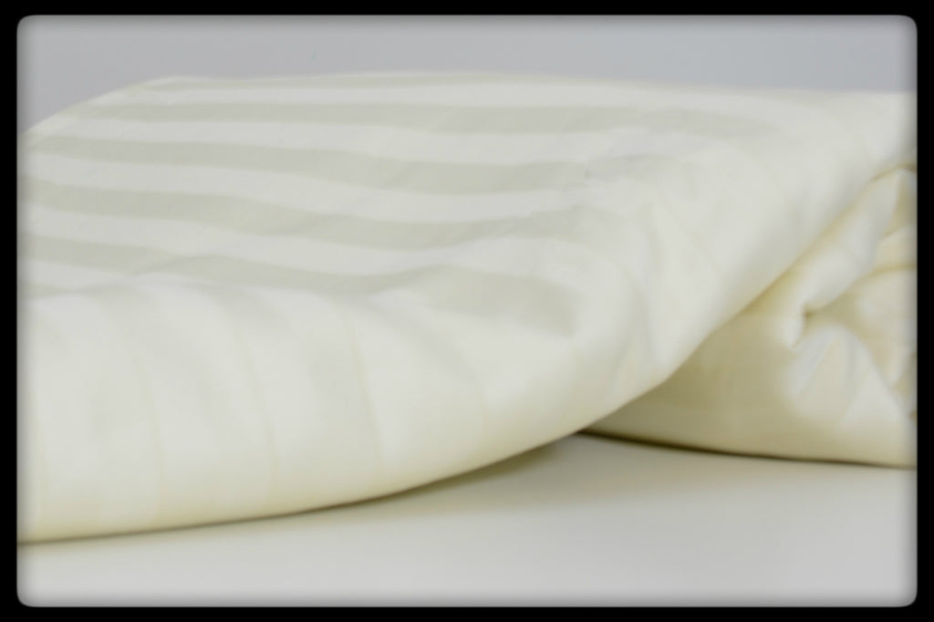 Cotton Fitted Sheet (Style: Plain Cream with Stripes)