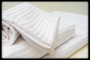 Cotton Flat Sheet (Style: Plain White with Stripes)