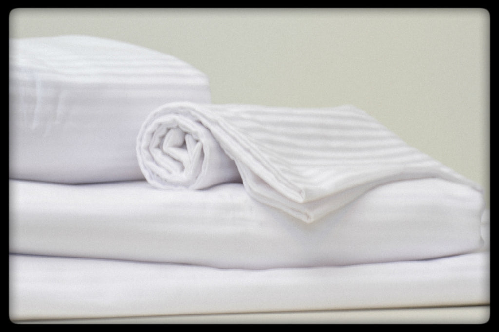 Cotton Sheet Set (Style: Plain White with Stripes)