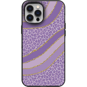Cute Soft Purple Cheetah Fur print Apple Iphone Samsung Phone Shockproof Case Cover