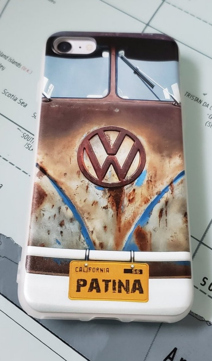 Classic Car Classic Blue patina split bus Jelly Phone Case