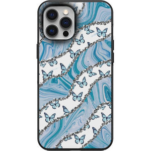 Aesthetic Butterflies and Blue Swirls Apple Iphone Samsung Phone Shockproof Case Cover