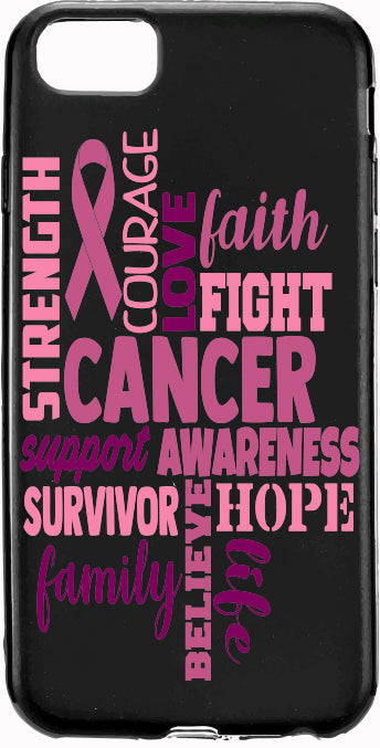 Faith Family Fight Cancer Pink Ribbon Heart Cancer Apple Samsung Case Cover