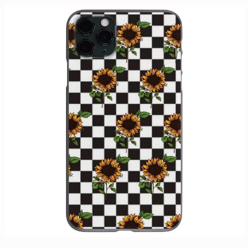Checker Sunflower pattern Apple Iphone Samsung Phone Shockproof Case Cover