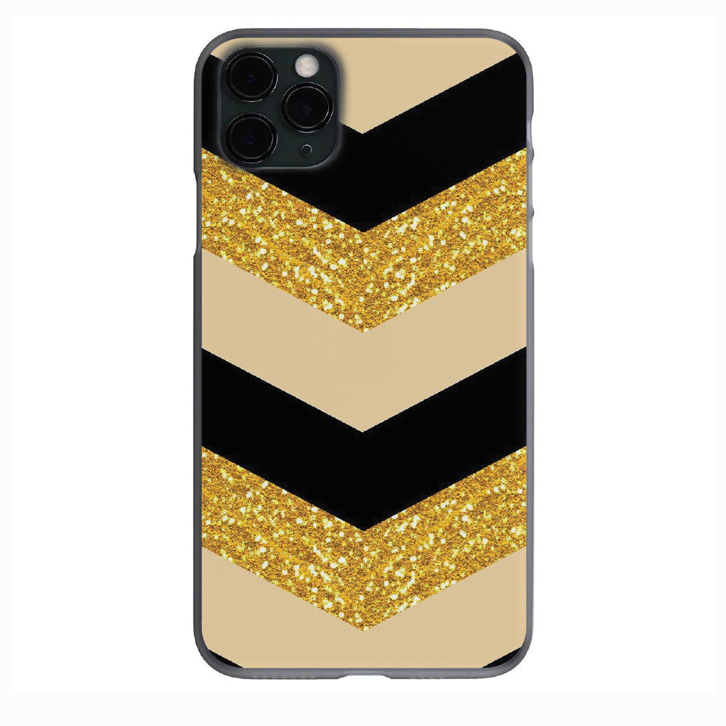 Black and Tan Gold Glitter Chevron Design Apple Iphone Samsung Phone Shockproof Case Cover