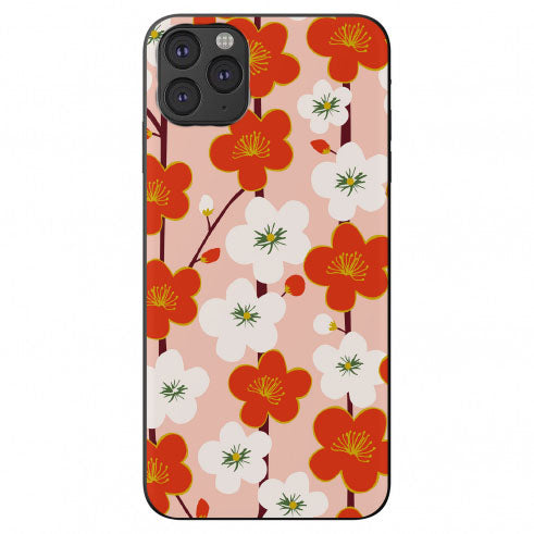 Drawn Red and White Cherry Blossom Flowers Apple Iphone Samsung Shockproof Case Cover
