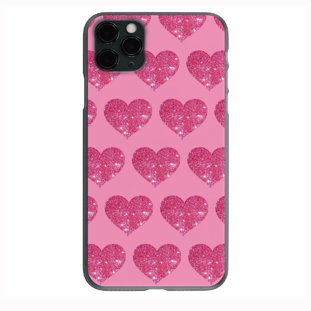 Pink Glitter Hearts Apple Iphone Samsung Phone Shockproof Case Cover