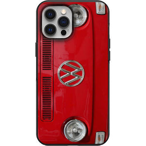 VW Red Bay Window Front View Apple Iphone Samsung Phone Shockproof Case Cover