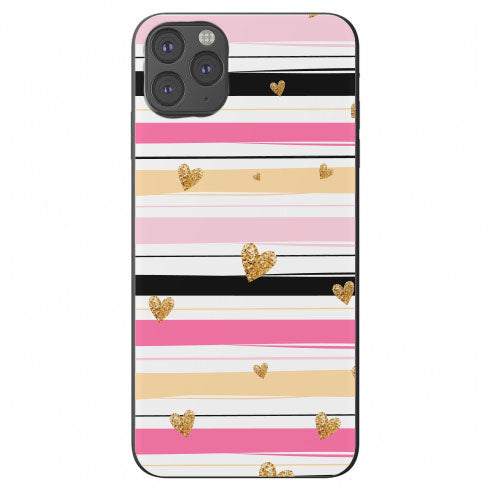 Teal Pink Tan Stripes Gold Glitter Hearts Apple Iphone Samsung Phone Shockproof Case Cover