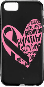 Survivor Pink Ribbon Heart Cancer Apple Samsung Case Cover