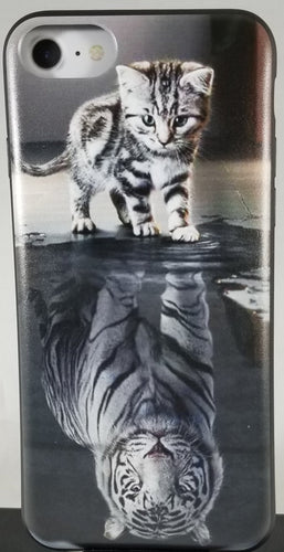 Black and White Cat and Tiger Reflections Phone Case