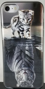 Black and White Cat and Tiger Reflections Apple Iphone Samsung Phone Shockproof Case Cover
