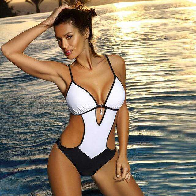 One Piece Deep V Backless Monokini Bodysuit
