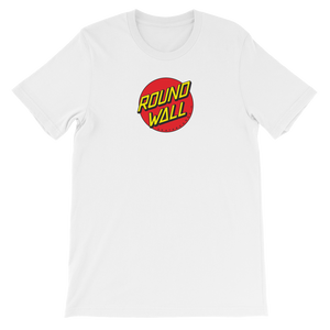 Roundwall old school skateboard t-shirt onsdagscruiser dot white