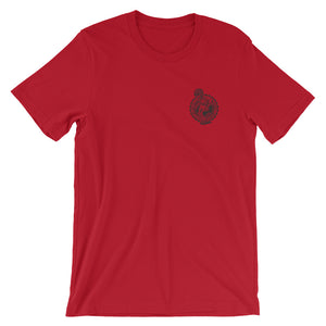 roundwall t-shirt skateboard let the good times roll hangten red