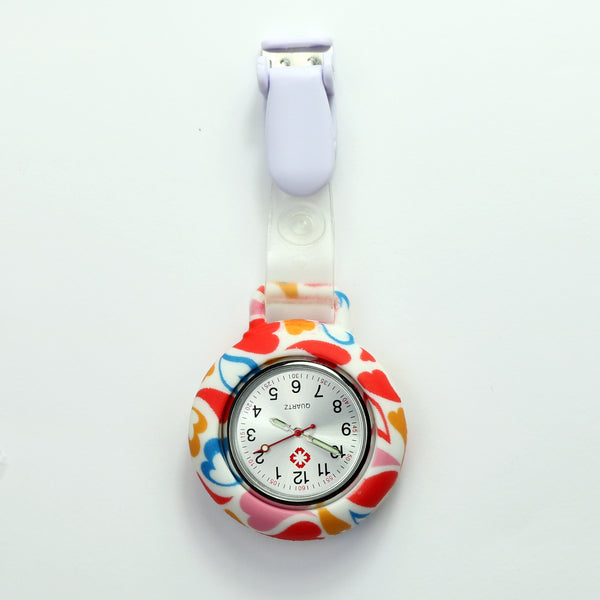 Nurse Clip Fob Watch - Printed Heart