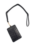 Crocodile Leather ID Wallet Lanyard