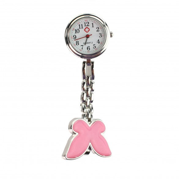 Nurse Butterfly Fob Watch - Hot Pink