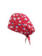 Red Floral Printed Surgical Hat
