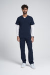 Force Men's V-neck Solid Scrub Top