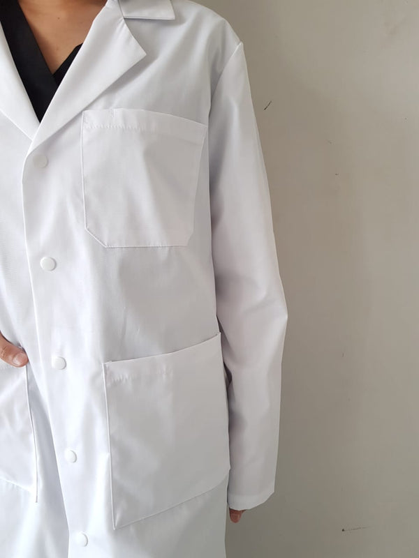 Midriff Unisex Snap Button  Lab Coat Cu808