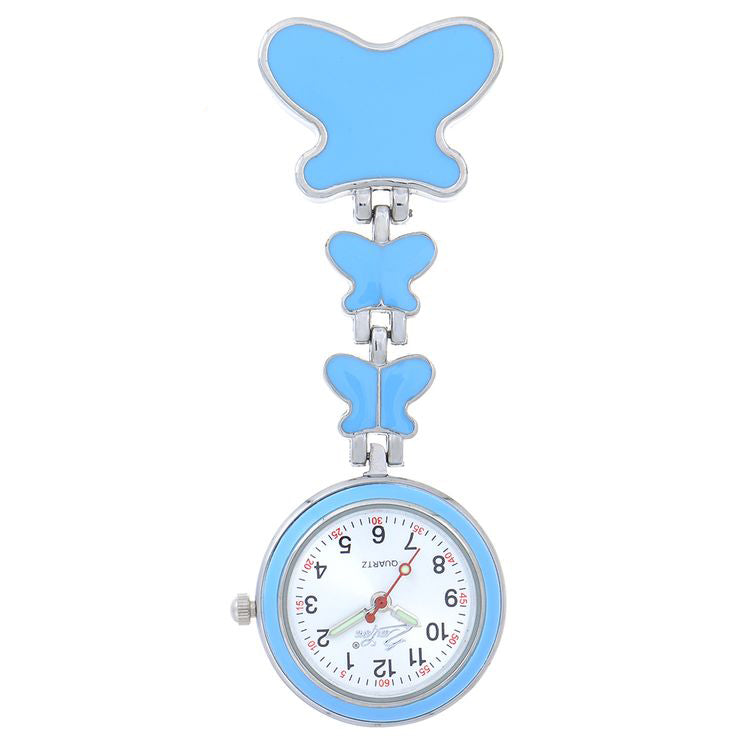 Nurse Butterfly Trio Fob Watch - Light Blue
