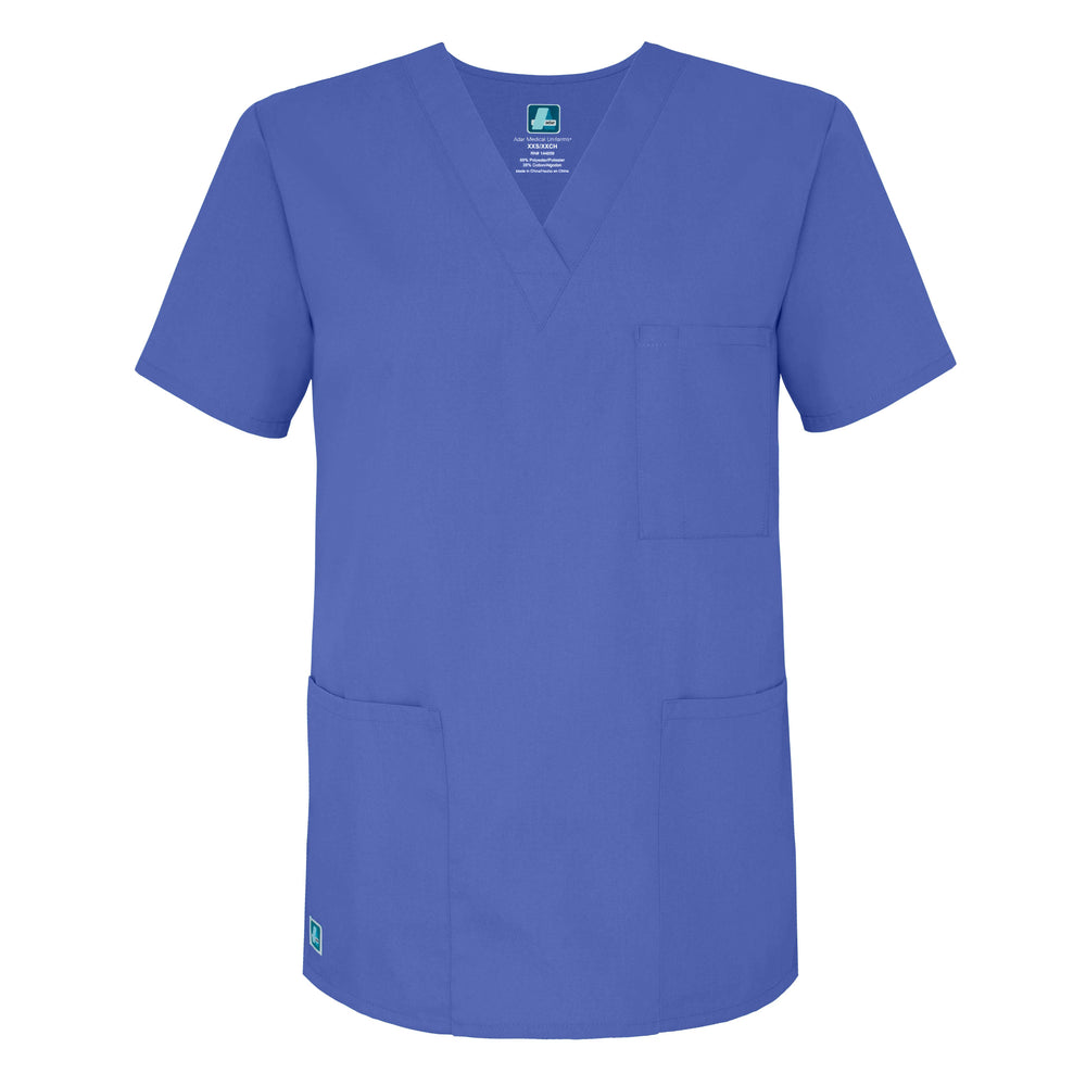 Adar Unisex V-Neck Scrubs Top - Blue Family 601