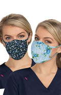 Reversible Fashion Mask Pack of 2 - Floral Leopard/Ditsy Floral Blue