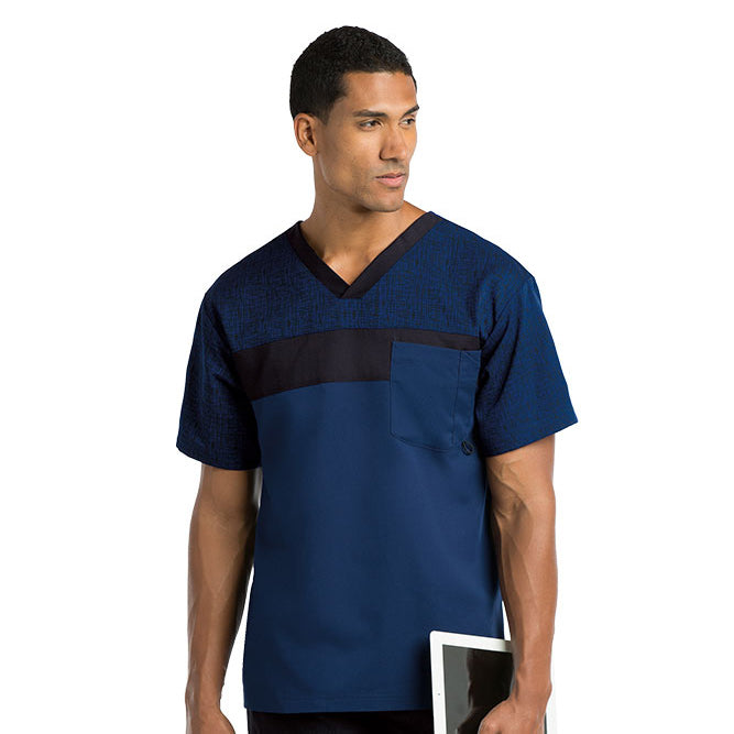 14bc14ffccf Grey's Anatomy Men's 2 Pocket Printed Pieced Top 0117 | SCRUBS AND ...