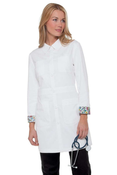 REBECCA Stylish fitted lab coat with beautiful facing on back of neck and interior cuffs