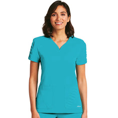 Kd 110 Women's Shirred Sleeve Heart Neck Top 8103