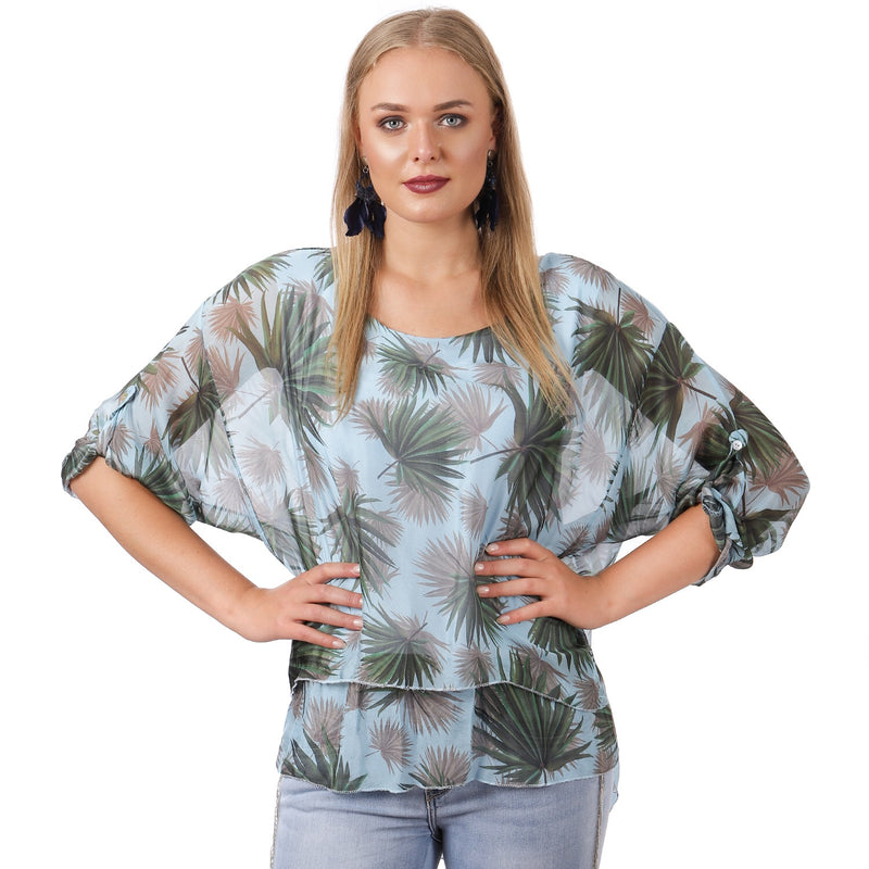 Printed Silk Layered Top