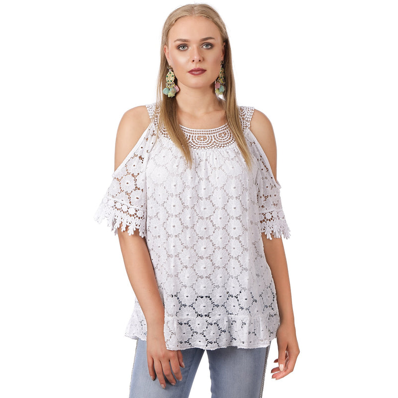 White Lace Cold Shoulder Top