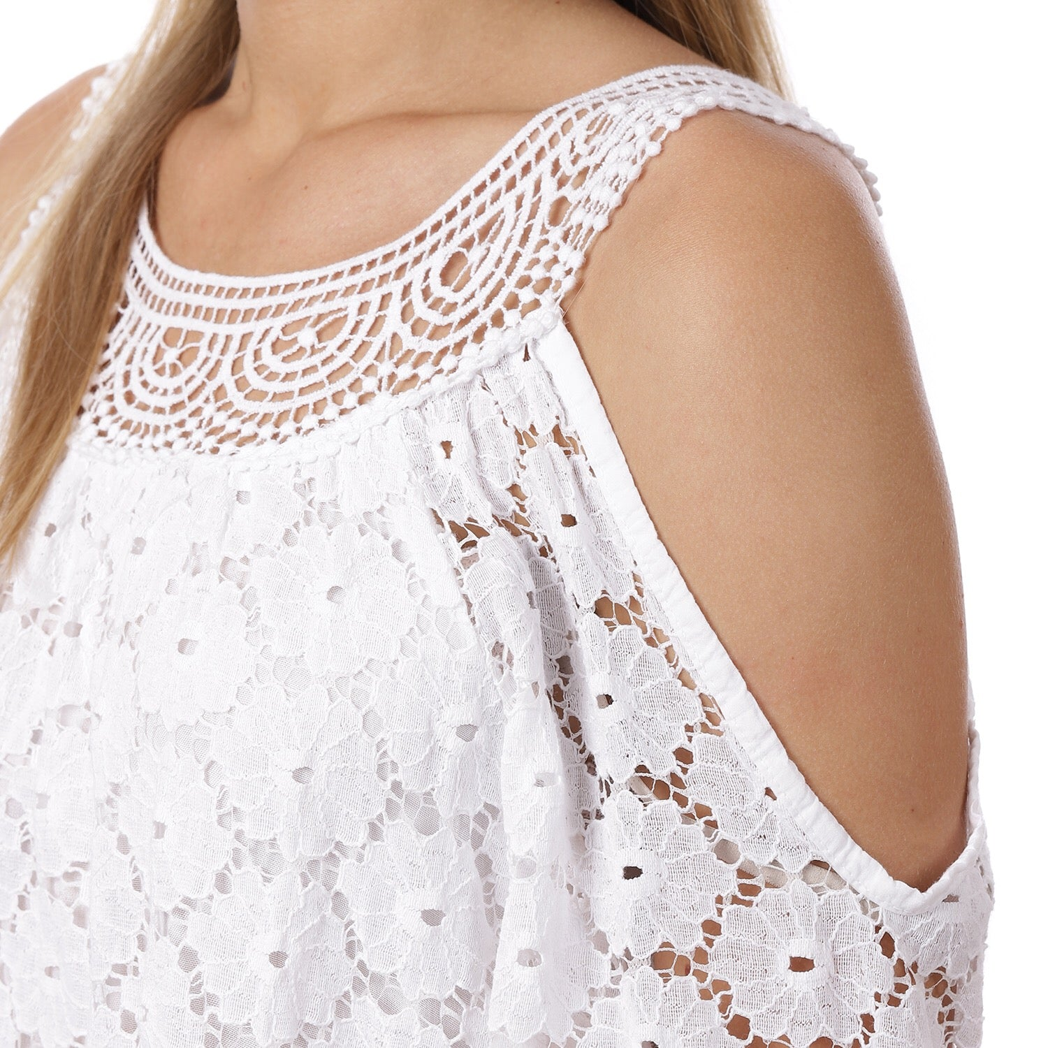 35dfd08dac9366 White Lace Cold Shoulder Top – bardotstore