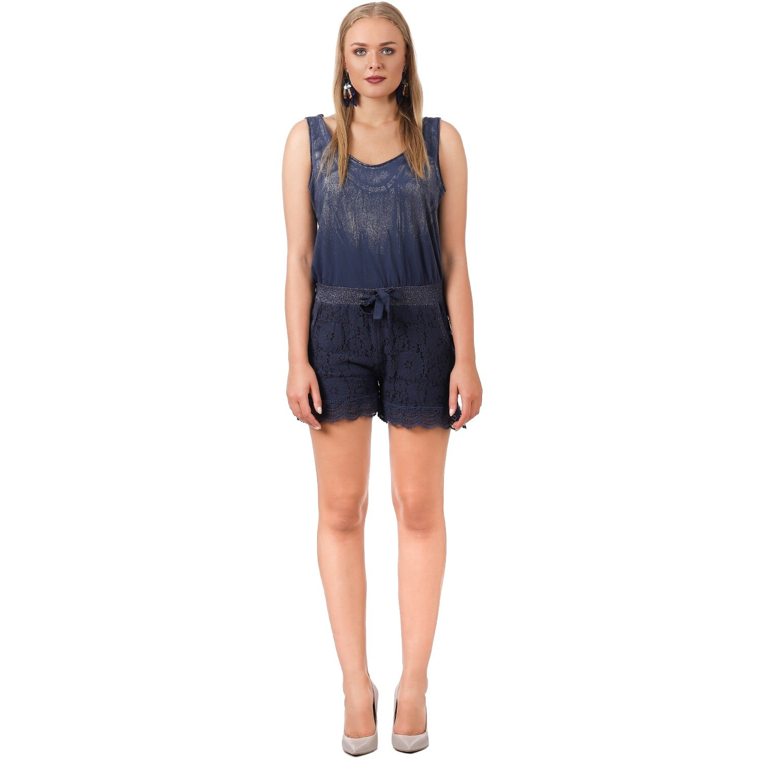 brand quality the cheapest various colors Navy Shimmer Lace Playsuit