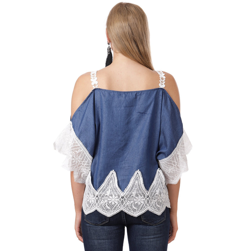 Denim and Lace off shoulder Top ( dark) PLUS