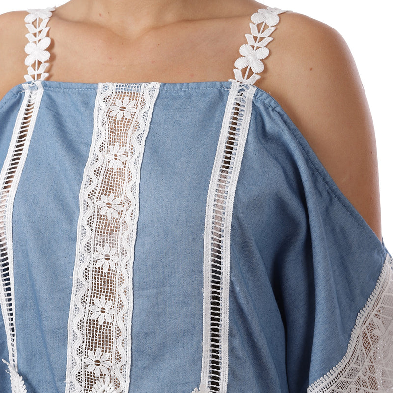 Denim and Lace off shoulder Top ( PLUS )