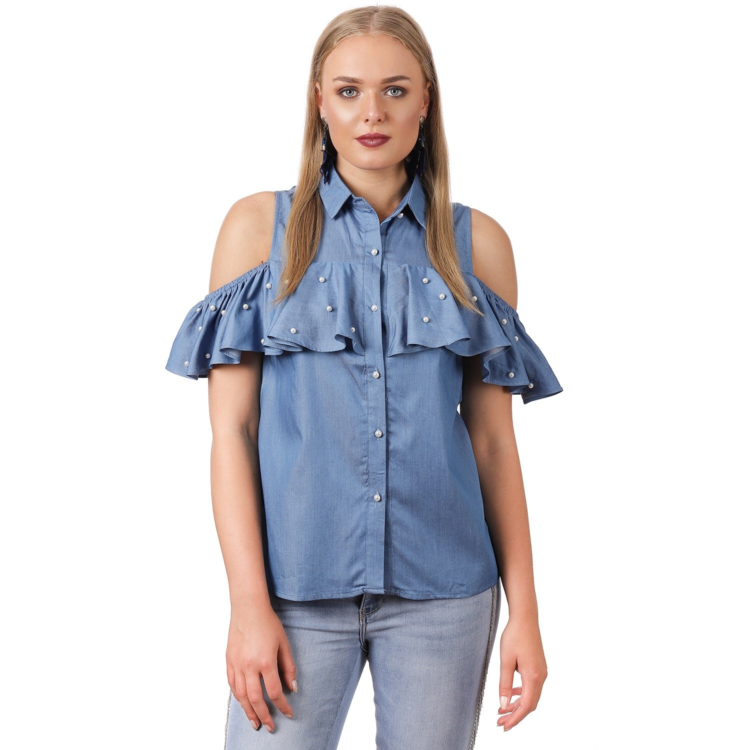 05a9fb8c760648 Denim Pearl Cold Shoulder Top – bardotstore