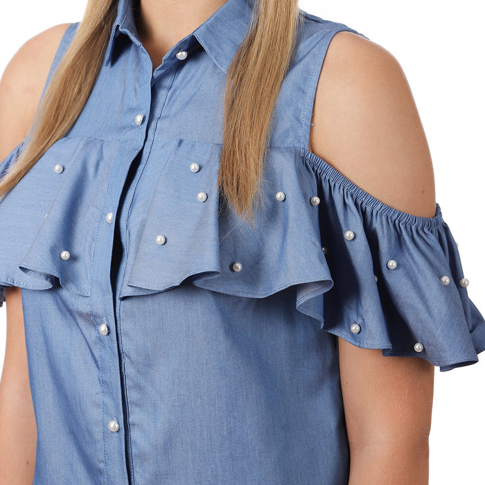 Denim Pearl Cold Shoulder Top