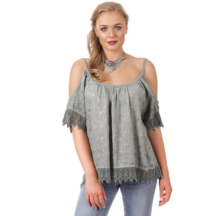 Linen Khaki Cold Shoulder Top ( PLUS )