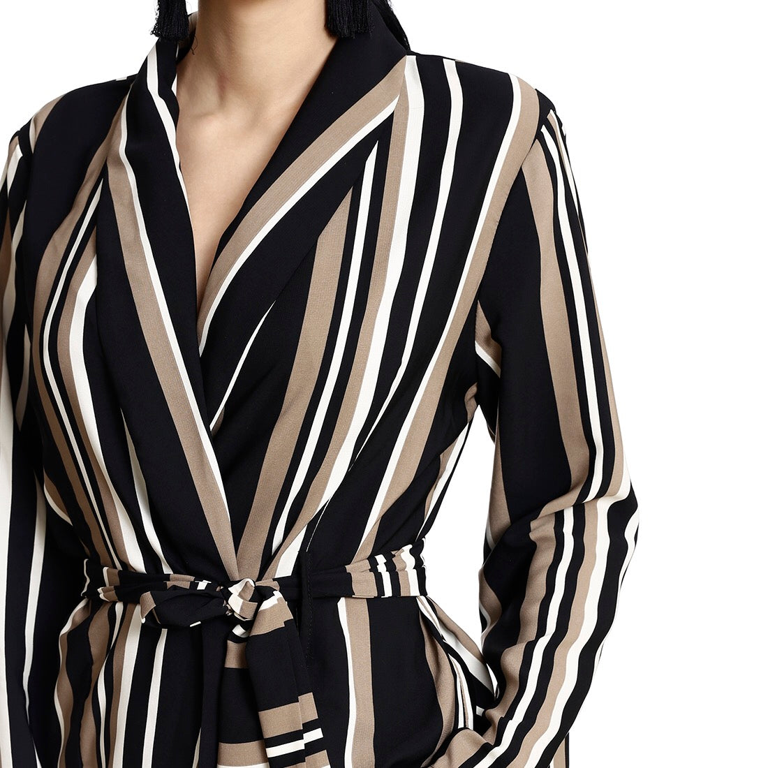 Striped Pantsuit Jacket ( beige- black- white)