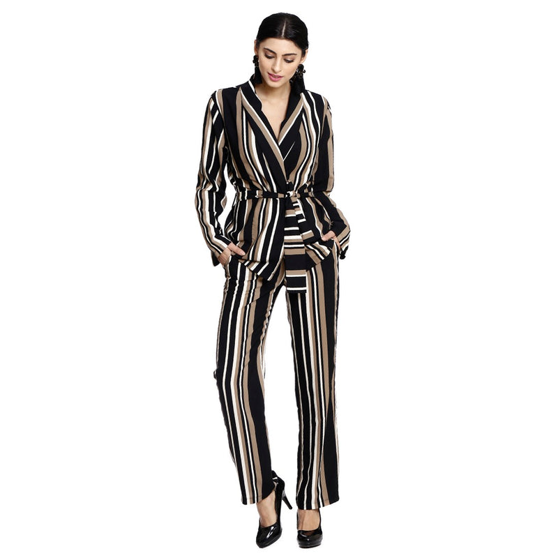 Striped Pantsuit - pants ( black- beige - white)