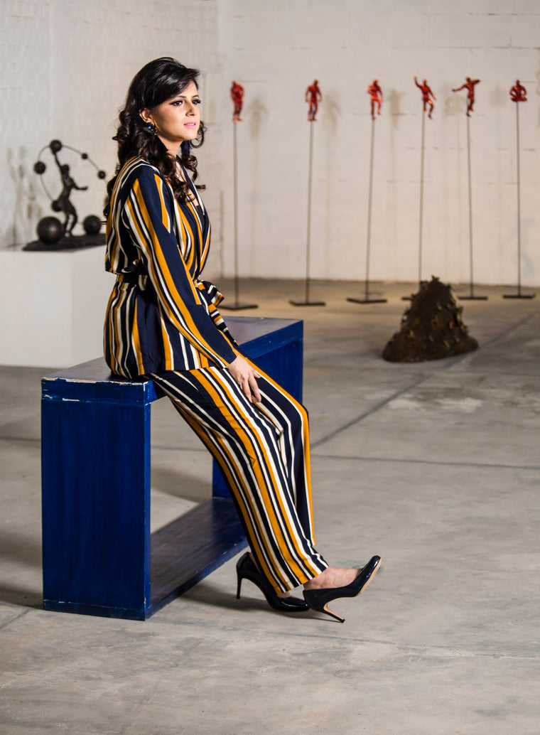 Striped  Pantsuit Jacket( navy-white-mustard)