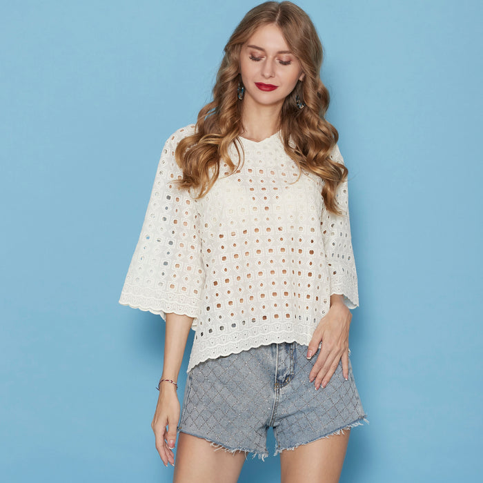 Cream Cotton Top ( cutwork )