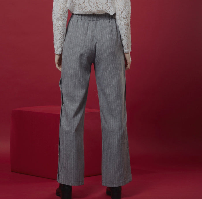 Grey Pants ( Stripes &  buttons )