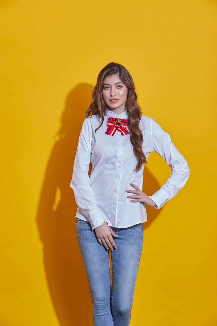 White  Bow Shirt