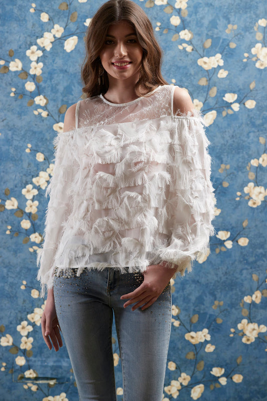 White Feather Top ( Lace Cold Shoulder )